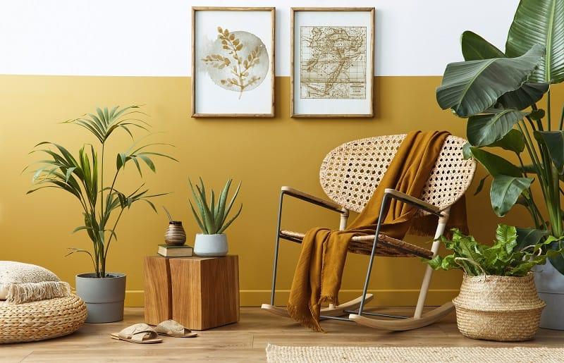 plantas artificiais para sala com vasos